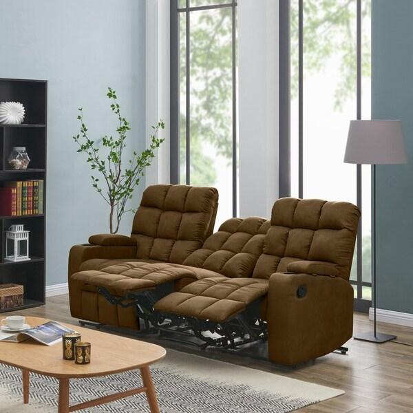 Shop Strick & Bolton Saskia Brown Microfiber 3-seat Recliner Sofa ...