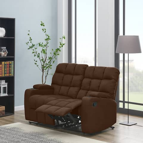 Strick & Bolton Saskia Brown Microfiber 2-seat Recliner Loveseat