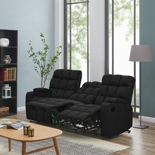 Oliver & James Saskia Black Microfiber 3-seat Recliner Sofa