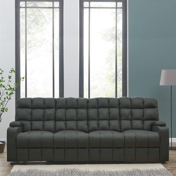 Oliver U0026amp; James Saskia Grey Microfiber 4 Seat Recliner Sofa