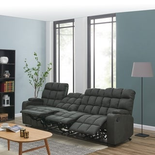 Oliver & James Saskia Grey Microfiber 4-seat Recliner Sofa