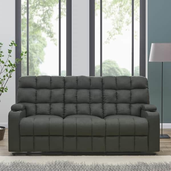Super Shop Copper Grove Bielefeld Grey Microfiber 3 Seat Recliner Short Links Chair Design For Home Short Linksinfo
