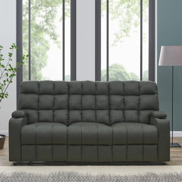 Oliver James Saskia Grey Microfiber 3 Seat Recliner Sofa