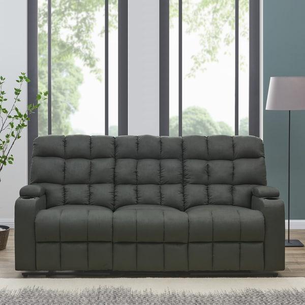Oliver U0026amp; James Saskia Grey Microfiber 3 Seat Recliner Sofa