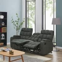 Oliver & James Saskia Grey Microfiber 3-seat Recliner Sofa