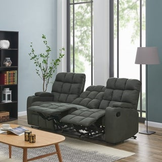 Oliver & James Saskia Grey Microfiber 3-seat Recliner Sofa