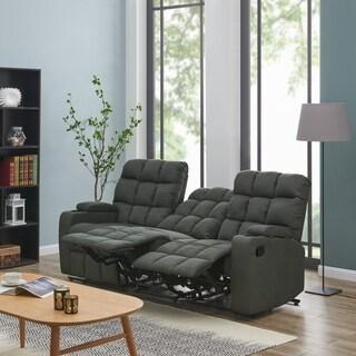 Oliver U0026 James Saskia Grey Microfiber 3 Seat Recliner Sofa