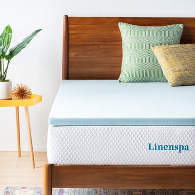 Linenspa Essentials 2-inch Gel Memory Foam Mattress Topper - Blue