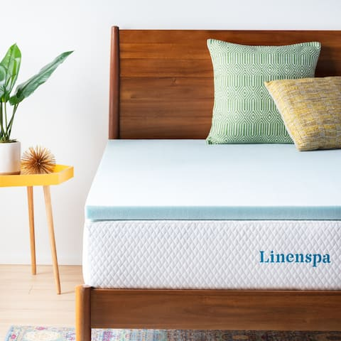 Linenspa Essentials 2-inch Gel Memory Foam Mattress Topper - Blue