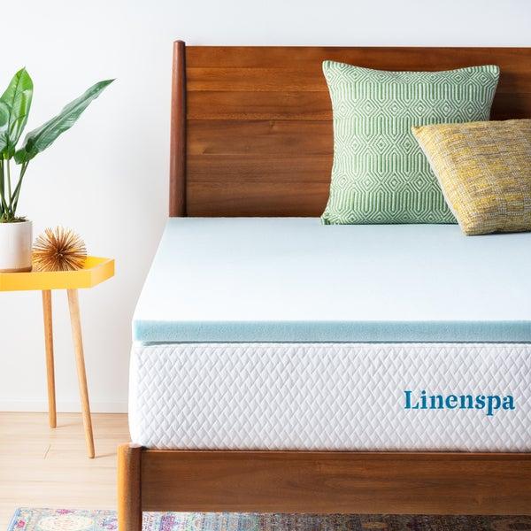 Linenspa Essentials 2-inch Gel Memory Foam Mattress Topper - Blue. Opens flyout.