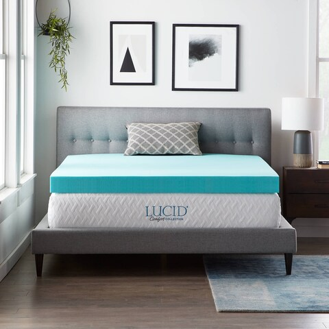 LUCID Comfort Collection 4-inch Gel Memory Foam Mattress Topper
