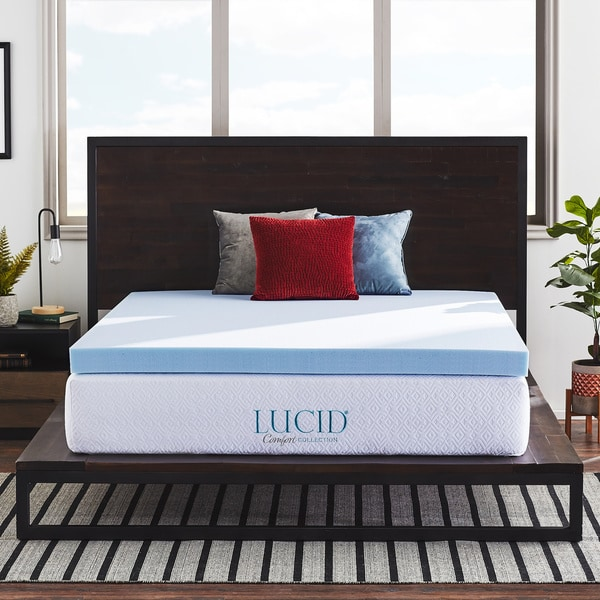 LUCID® Comfort Collection 4-inch SureCool™ Gel Infused Memory Foam Mattress Topper