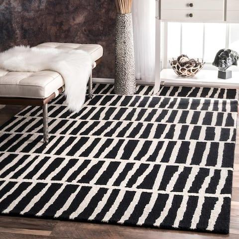 Carbon Loft McCoy Black and White Handmade Geometric Wool Area Rug