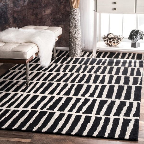 Black And White Geometric Rugs For Sale: Shop Carbon Loft McCoy Handmade Geometric Wool Black And