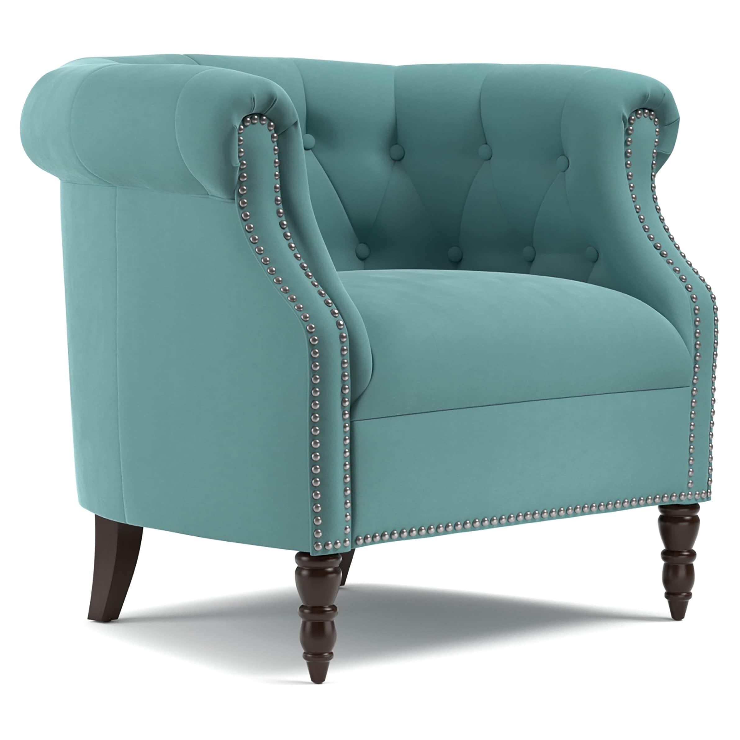 Copper Grove Muir Chesterfield Turquoise Blue Velvet Arm Chair