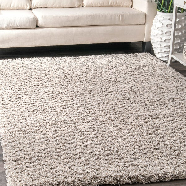 Carbon Loft Temple Soft and Plush Solid Chevron Shag Rug