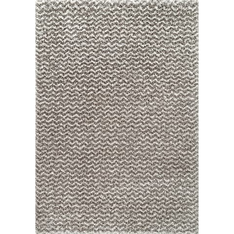 Carbon Loft Temple Soft and Plush Solid Chevron Shag Rug