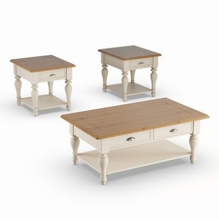 Havenside Home Lands End Antique White and Natural Pine 3-piece Occasional Set
