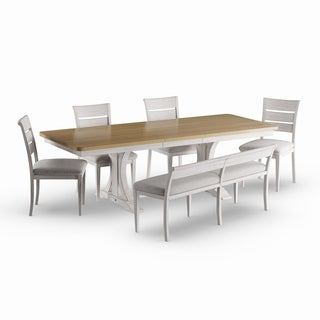 Havenside Home Morattico Antique White/ Brown 6-piece Trestle Dining Table Set