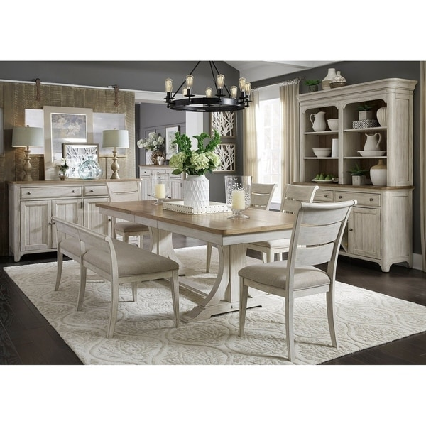 White And Brown Dining Table: Shop The Gray Barn Nettle Bank Antique White/ Brown 6