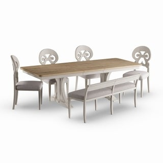 Havenside Home Wares Antique White/ Chestnut 6 Piece Trestle Dining Table  Set