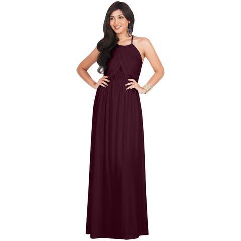 KOH KOH Womens Sleeveless Key Hole Formal Party Lady Sexy Maxi Dress