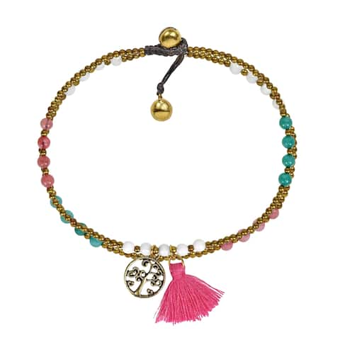 Handmade Pastel Summer Tree of life Pink Tassel Stone Brass Beads Anklet (Thailand) - MultiColor