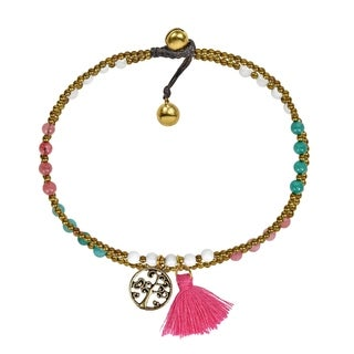 Handmade Pastel Summer Tree of life Pink Tassel Stone Brass Beads Anklet - MultiColor (Thailand)
