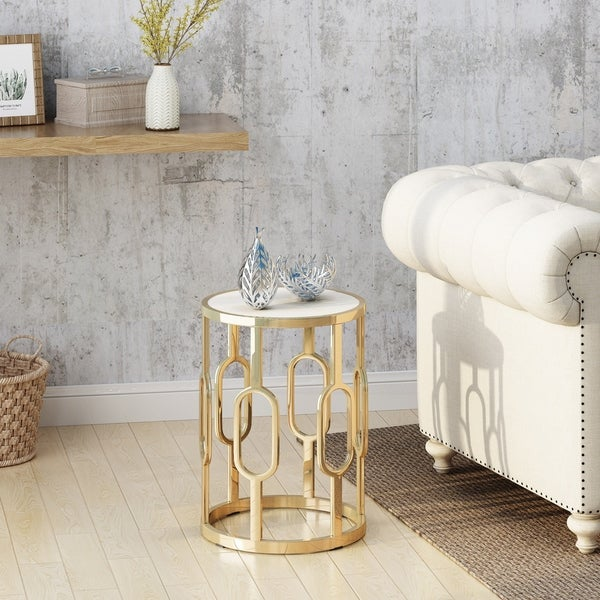 Mahalia 16-Inch Stone Side Table by Christopher Knight Home