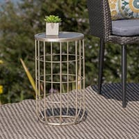 Lattice Outdoor Ceramic Tile Side Table by Christopher Knight Home