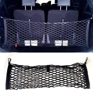 Zone Tech Large Pocket Mesh Storage Net - Black Mesh Large Pocket Trunk Cargo Organizer with 2 Mounting Options