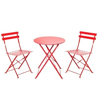 Grand patio Outdoor Bistro Sets, 3-Piece Folding Bistro-Style , Red