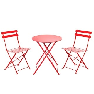 Grand Patio Outdoor Bistro Sets, 3 Piece Folding Bistro Style , Red