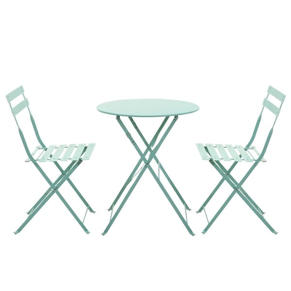 Grand Patio Outdoor Bistro Sets 3 Piece Folding Style Macaron Blue