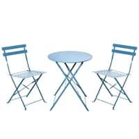 Grand patio Outdoor Bistro Sets, 3-Piece Folding Bistro-Style, Blue