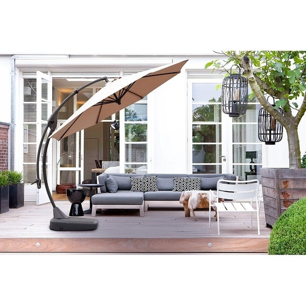Grand Patio Outdoor 11.5 Ft Offset Hanging Patio Umbrella, Champange
