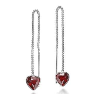 Romantic Deep Red Cubic Zirconia Heart on Sterling Silver Slide Thru Earrings