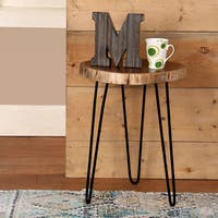 IntradeGlobal Acacia Wood Live Edge Stool, Accent Side Table /Set of 2