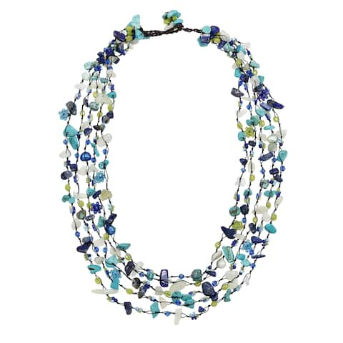 Festive Multi Layered Turquoise Mix Beads Stones Statement Necklace