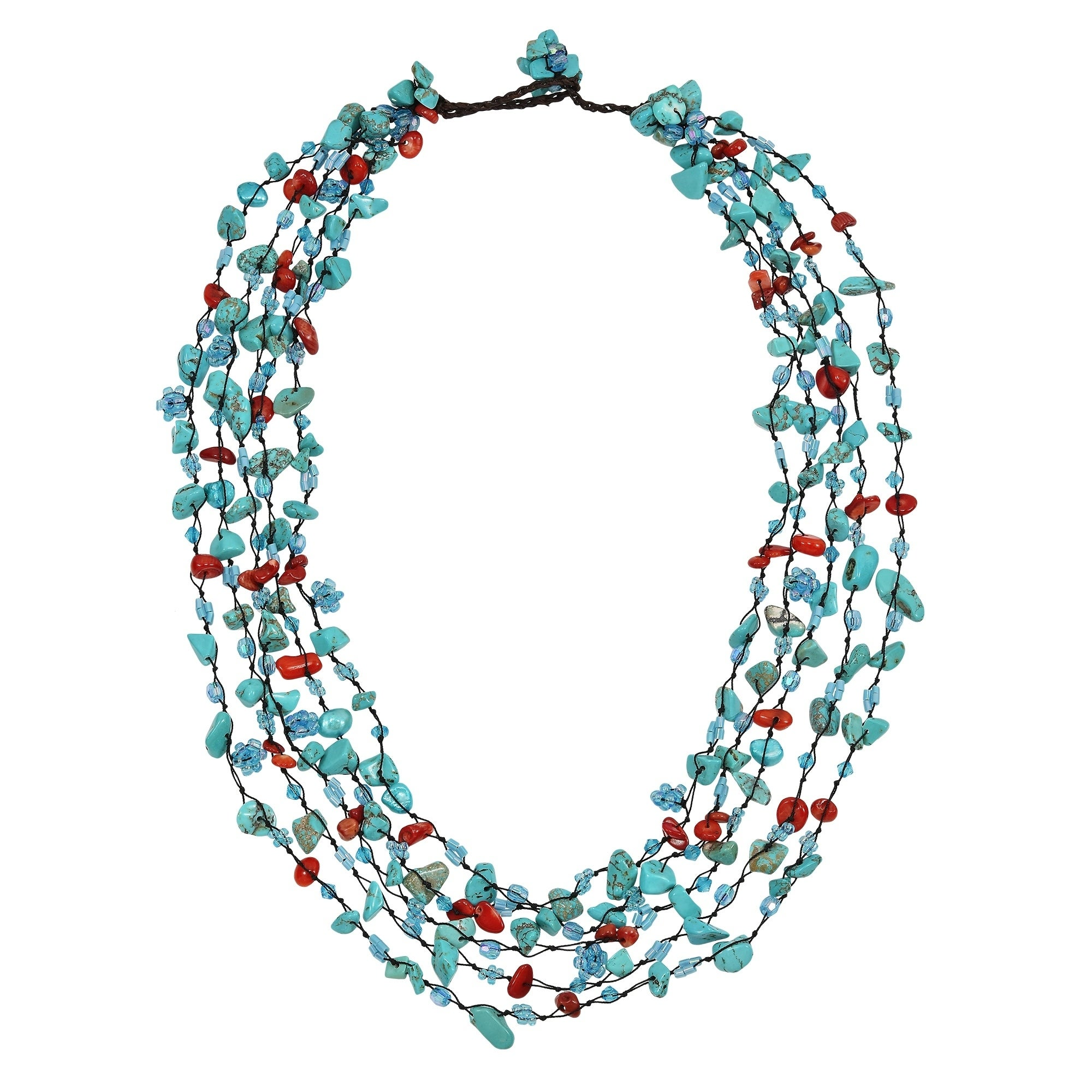 Ceramic beaded necklace burnished gold beads in a long eclectic mix of beads and metal elements glass beads Turquoise ceramic beads