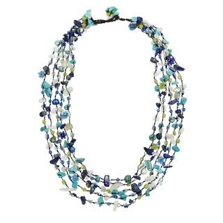Handmade Festive Multi-Layered Turquoise Mix Beads & Stones Statement Necklace (Nepal)