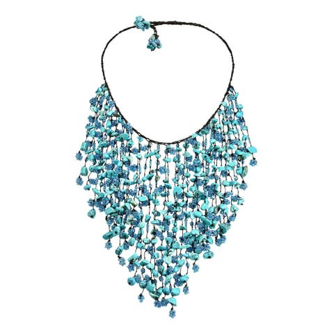 Handmade Dramatic Waterfall Turquoise Layered Necklace (Thailand)
