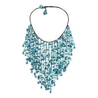 Handmade Dramatic Draping Waterfall Turquoise Layered Statement Necklace (Thailand)