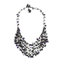 Handmade Midnight Waterfall Beaded Stone Statement Necklace (Thailand)