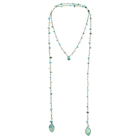 Handmade Long Lariat Wrap Multi-Wear Stones Beaded Necklace (Thailand)
