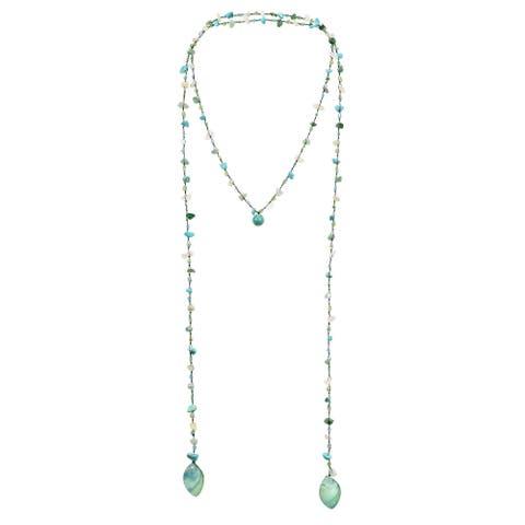 Handmade Long Lariat Wrap Multi-Wear Stones Beaded Necklace