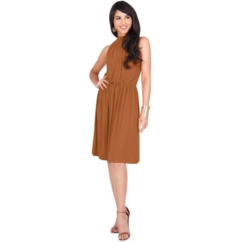 KOH KOH Womens Elegant Sleeveless Halter Neck Knee Length Midi Dress