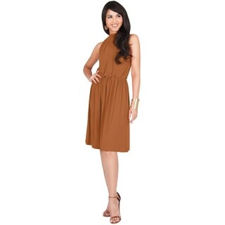 KOH KOH Womens Elegant Sleeveless Halter Neck Knee Length Midi Dress