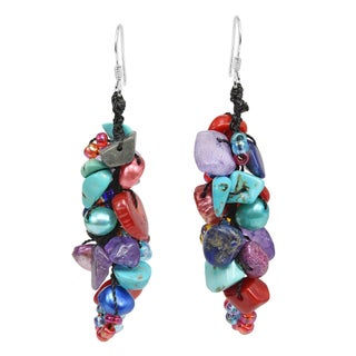Handmade Cute Little Mix of Stone Pearl Beads Dangle Earrings (Thailand)
