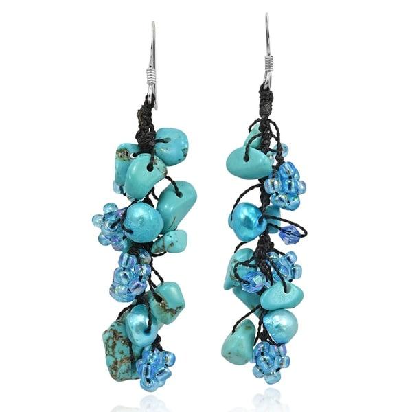 Handmade Stone Pearl Dangle Earrings (Thailand). Opens flyout.